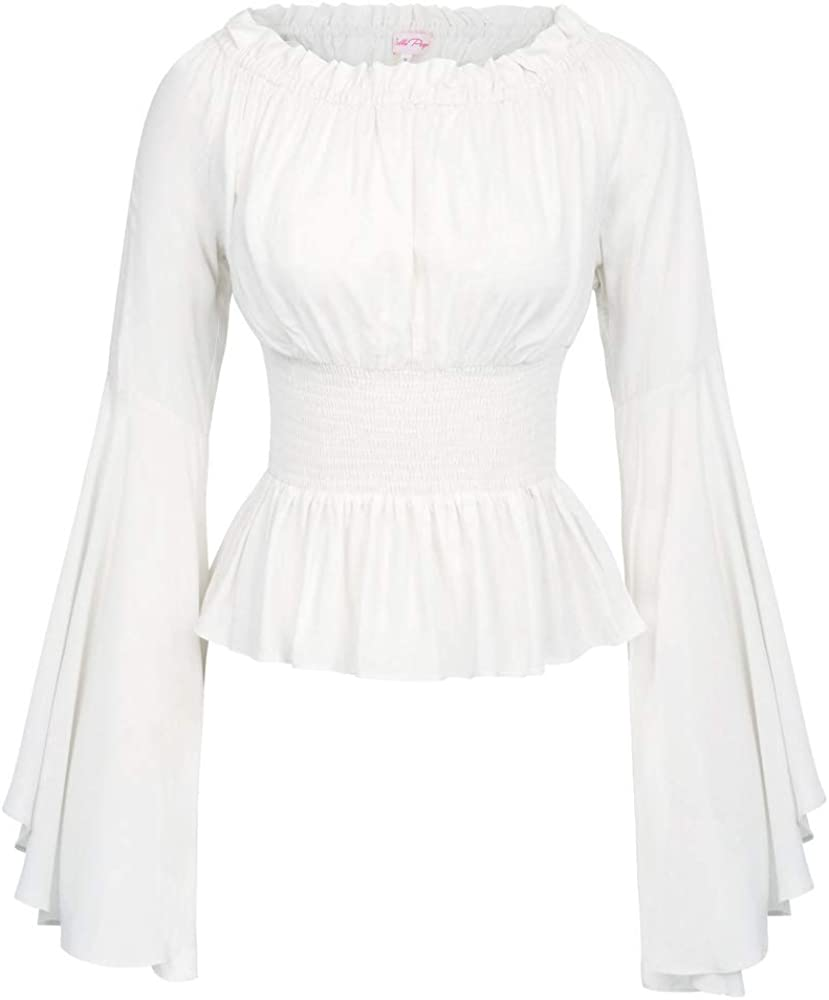 Belle Poque Mujer Camisa Vintage Ruffle Mangas largas con mo/ño BPE02005