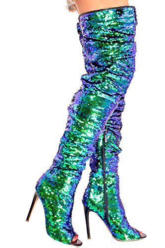 LOLLI COUTURE SEQUIN ACCENT SIDE ZIPPER PEEP TOE OVER THE KNEE HIGH HEEL BOOTS 6 royalblue (Sequin Accent)