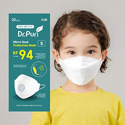 [20 Pack] Dr.Puri New Micro-Dust Protection Face Premium Mask (KF94) White Small