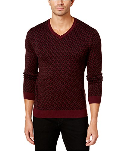 Alfani Men's Geometric V-Neck Sweater (Red, - Red Sweater Alfani
