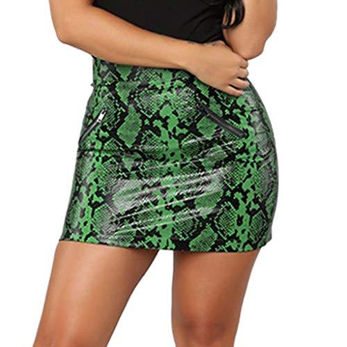 - Kulywon Ladies Sexy Leather Mini Skirt Snake Zipper Printing Slim Hip Wrap Skirt Green