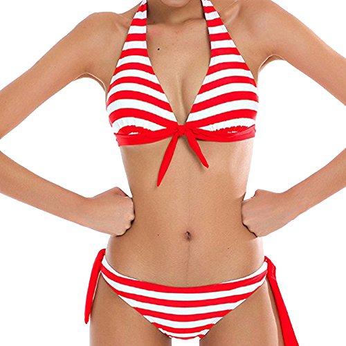 Donna Costumi Da Bagno Mare Strisce Push Up Piscina Sportivi Bikini Beachwear Due Pezzi Rosso