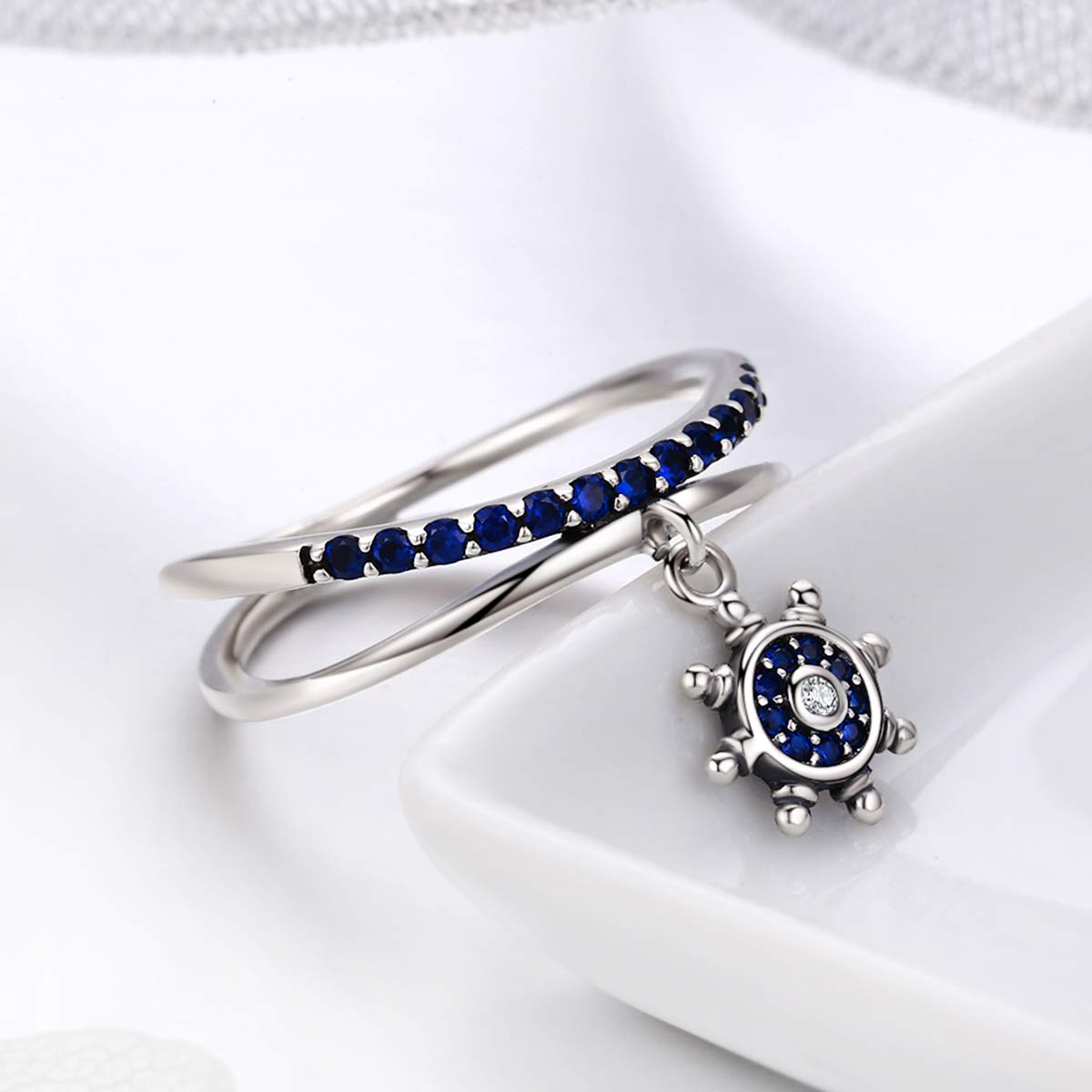 The Kiss Nautical Ships Wheel Dangle 925 Sterling Silver Ring Blue CZ