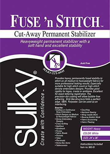 "Sulky Fuse 'n Stitch Cut-Away Permanent Stabilizer, 24""X36"""