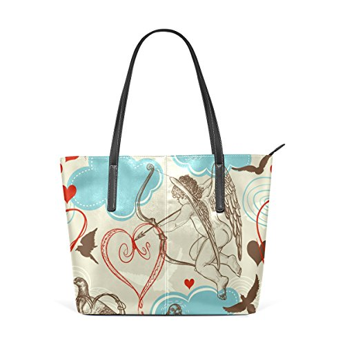 Purse Leather Cupid And for PU Birds and bag women Tote handbags Pattern Bag Shoulder Love COOSUN SqwpFF