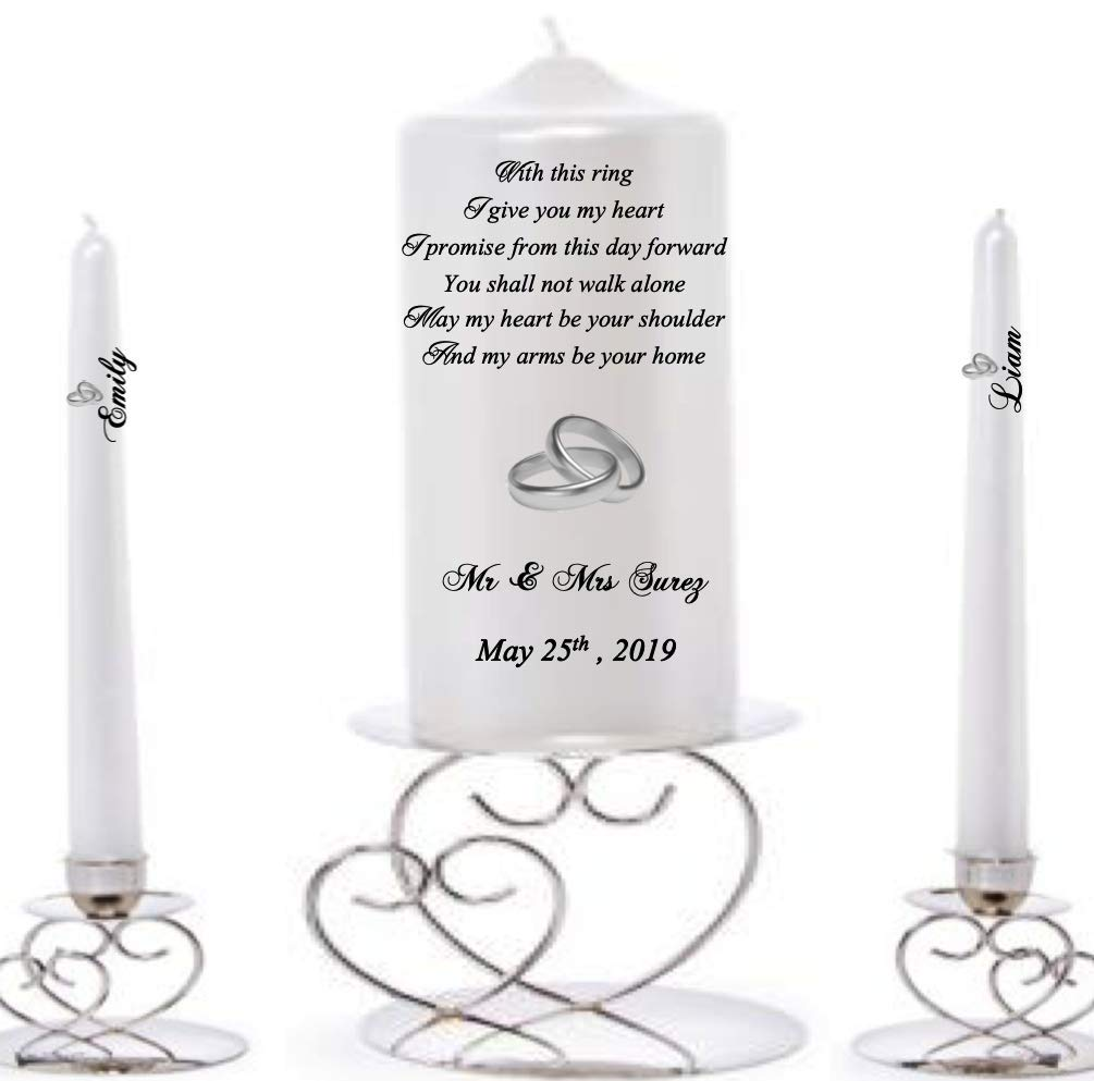LilUniquegifts Personalised Wedding//Civil Ceremony Unity Candle Set White bride /& groom Rings