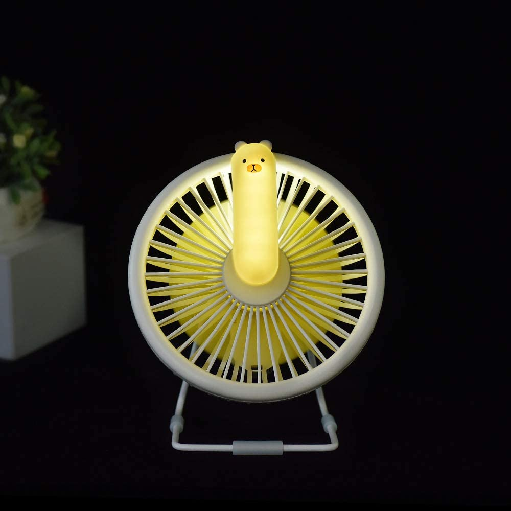 ornerx Cute USB Rechargeable Desk Fan with Light
