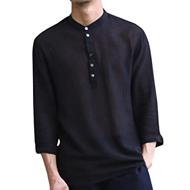 aff6241cf44 Image Unavailable. Image not available for. Color  Mens Linen Henley Shirts  3 4 Sleeve V Neck Button Up Beach Plain Tees Summer