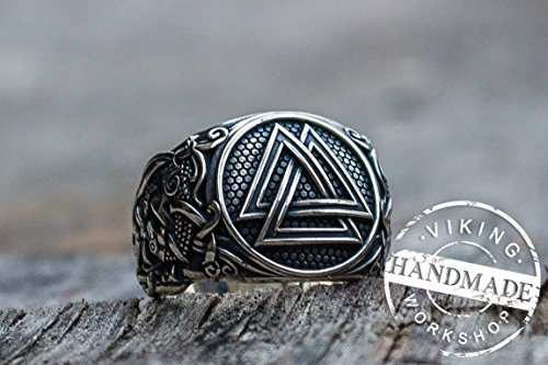 Valknut Ring with Mammen Ornament Sterling Silver Viking Jewelry by Viking Workshop