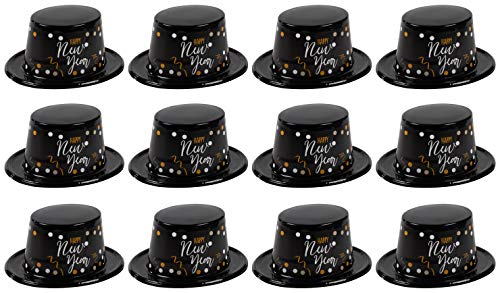 - New Years Eve Party Hats - 12-Pack Plastic Top Hats Holiday Supplies, Happy New Year Black with Confetti Design, Festive Party Favors, One Size Fits Most Adults, 11.25 x 9.75 x 4.6 Inches