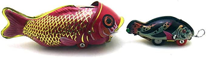Charmgle Ms229 Large Fish Eating Small Fish Whale Swallowing Fish Novelty Collection Retro Toy Tin Toy Adult Toy Decor Home Kitchen