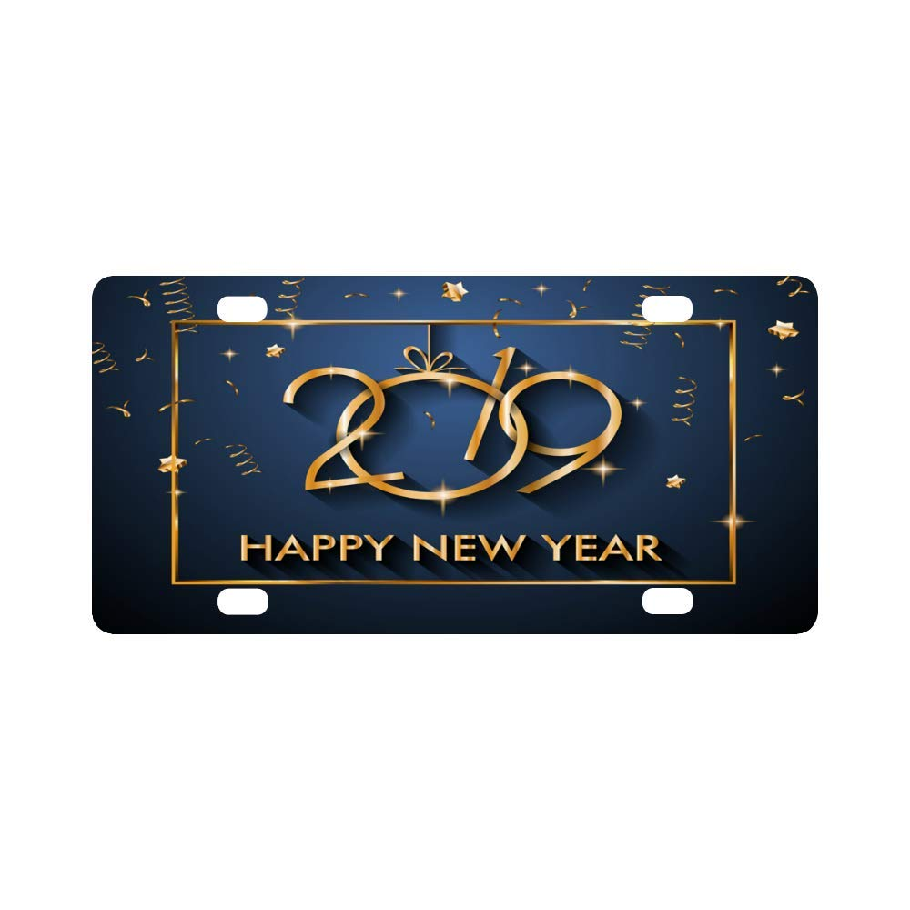 amazoncom interestprint 2019 happy new year metal license plate for car metal auto tag for woman man 12 x 6 inch automotive
