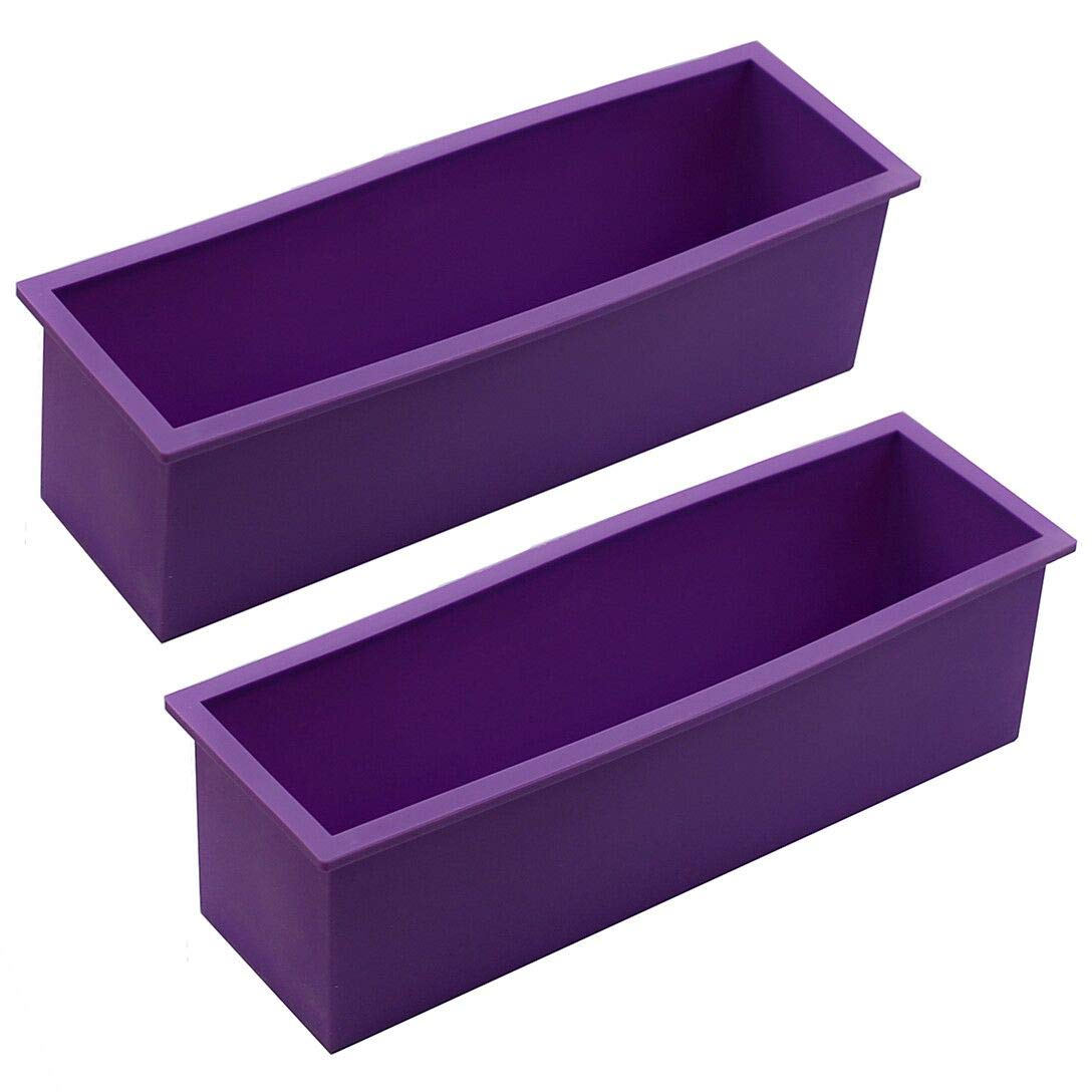 Straight Scraper for CP and MP Soaps Making Supplies 2PCS Flexible Rectangular Loaf Mold Comes with Wood Box Walfos Silicone Soap Mold Stainless Steel Wavy
