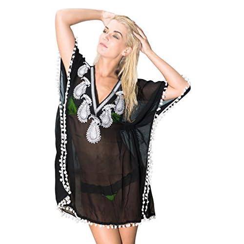 La Leela super léger femmes en mousseline de soie pure main brodé de paillettes paisley profond col cocktail 4 en 1 plage bikini couvrir tunique loungewear robe de base