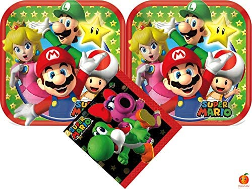 Mario Bros Party Pack Cake Plates Napkins Balloon Shape 22in Favor Birthday Boy Plus Stickers 34PCS