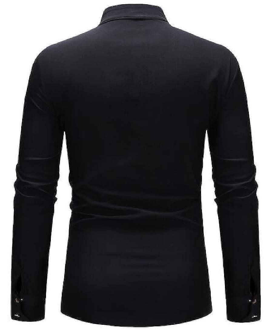 BU2H Men Shirts Casual Button Stand Collar Print Long Sleeve Dress Work Shirt