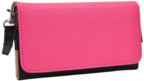 kroo-clutch-wristlet-wallet-for-smartphones-up-to-57-inch-retail-packaging-black-and-magenta