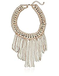 Stone Collar with Chain Fringe Statement Necklace