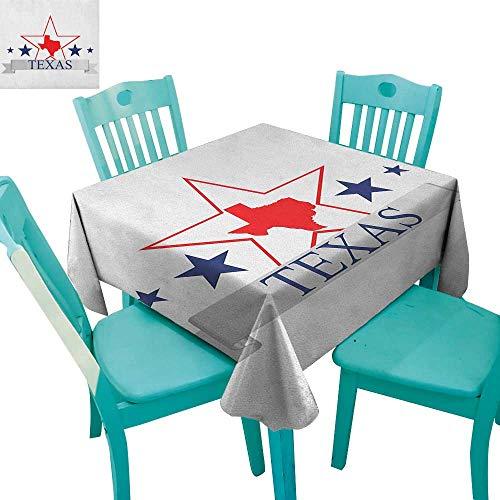(longbuyer Texas Star,Washable Tablecloth,San Antonio Dallas Houston Austin Map with Stars Pattern USA,54