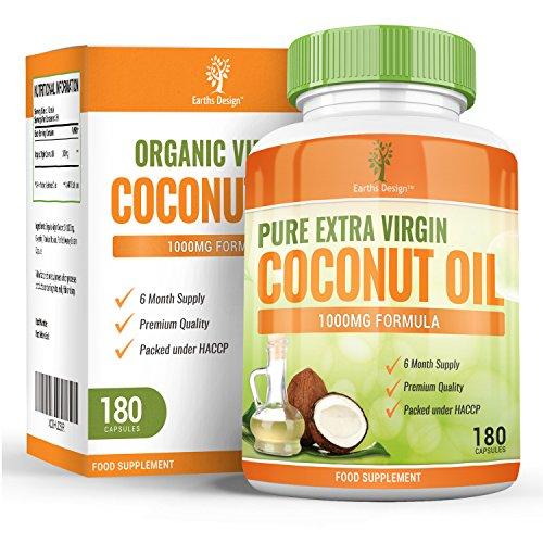 Kokosöl Kapseln, Bio Kokosöl, Reich an MCT / Mittelkettigen Triglyceriden, Essentielle Fettsäuren für Natürliches Abnehmen, 1000mg, 180 Kapseln - Doppelt So Viel wie bei anderen Herstellern