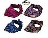 Combofix Dog Bandana Head Scarf Accessories Neckerchief for Pet Dogs and Cats (4 Pack)