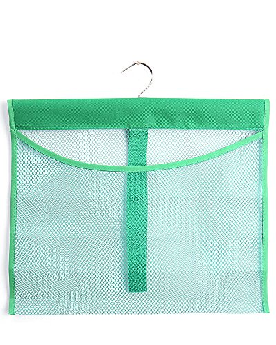 (ALYER Hanging Mesh Shower Pockets for 34oz/1000ml Shampoo and Conditioner,Colorful Bath Toy organizer,Hanging Tandem Type Closet Accessories Storage,Green)