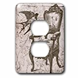 3dRose lsp_110259_6 Vintage Chair and Bird Steampunk Art - 2 Plug Outlet Cover