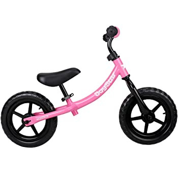 side facing pink joystar marcher balance bike