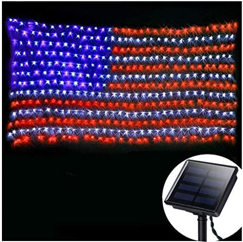 American Flag Lights Outdoor Solar Powered,420 Super Bright LEDs,6.5ft x 3.28ft,Waterproof Flag Net Light of The United States for Independence National Memorial Day,July 4th,Christmas Decoration