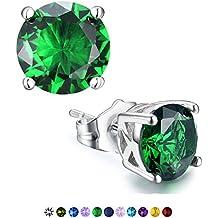 Stud Earrings, Casfine Silver Birthstone Round AAA Cubic Zirconia Earrings for Women Girls