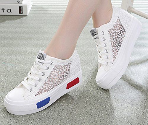 VECJUNIA Ladies Lace Embroidery Platform Height-increasing Shoes Fashion Style Sneakers White J6ZlIbI0l