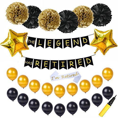 AS Retired Party Decorative Banner, 18 Pcs Latex Balloons Retired Sash and Tissue Pom Poms Paper Flowers Ideal for Retirement Party Decorations with Air Pump ()