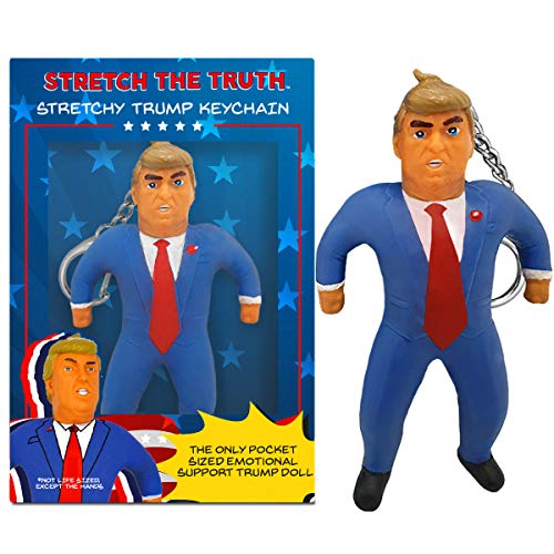 Donald Trump Stretchy Keychain - Funny Gifts Political Humor Gag Gifts - Perfect for Stress Relief White Elephant Gifts and Gifts for Men