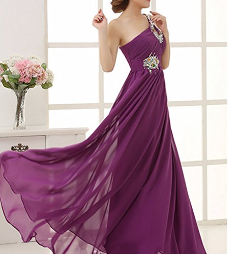 Bridesmaid emmani Chiffon Geld Kleider One Rot Shoulder Damen Ball lang WW4rFn