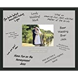Personalised Wedding Guest Book Frame - Handmade Black 40 x 50cm with Hand Cut White Mount (Landscape) by Behind The Glass