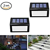 Solar 6 LED Stair Lights - Sunklly Outdoor Waterproof Step Lamp for Deck,Walkway,Patio ( White Light, Pack of 2 )