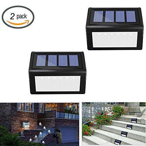 Price comparison product image Solar 6 LED Stair Lights - Sunklly Outdoor Waterproof Step Lamp for Deck, Walkway, Patio ( White Light,  Pack of 2 )