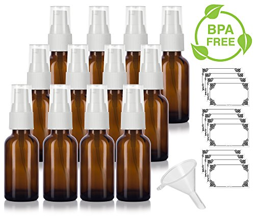 (Amber 1 oz/30 ml Glass Boston Round White Treatment Pump Bottle (12 pack) + Funnel and Labels for cosmetics, serums, beauty oils and blends, aromatherapy, cosmetic food grade, bpa free)