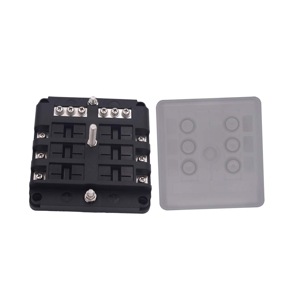 With Protection Cover JOYHO 12 Way Fuse Distribution Box with Ground 70 pcs Stick Label circuit breaker Fuse Block W//Negative Bus for Automotive Vehicle Boat Marine Bolt Connect Terminals