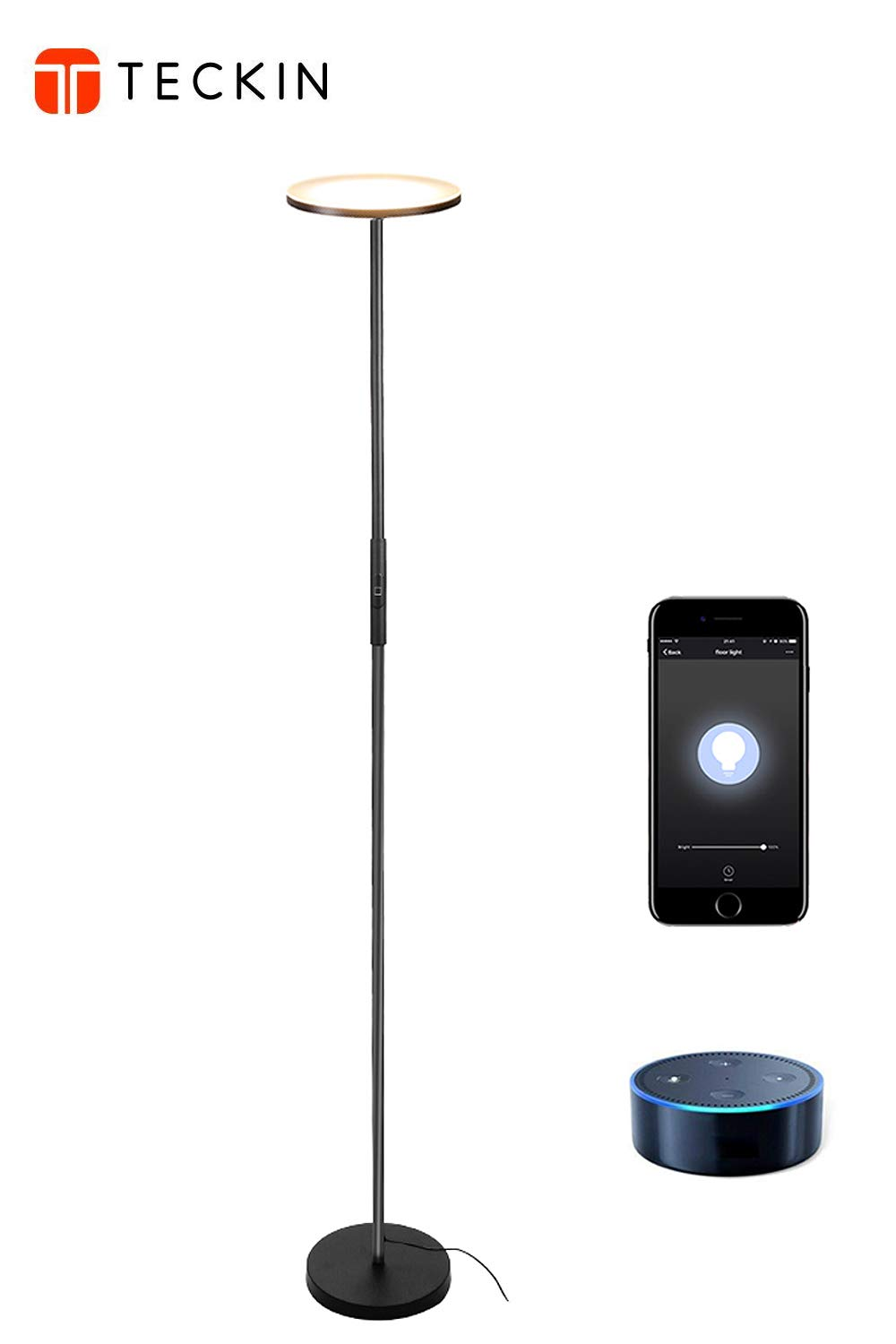 LED Torchiere Floor Lamp, TECKIN Wifi Smart Uplight Dimmable Floor lamps Compatible with  Alexa Google Home, Tall Standing Modern Pole Light Enabled Remote Control for Living Rooms & Offices-Black T TECKIN FL41
