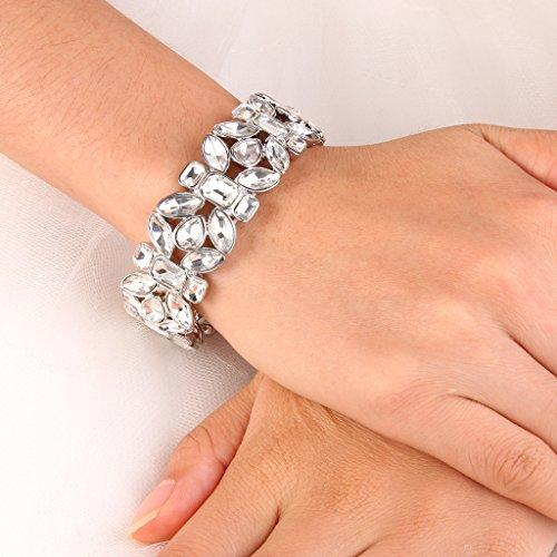 EVER FAITH Women's Austrian Crystal Leaf Teardrop Wedding Elastic Stretch Bracelet