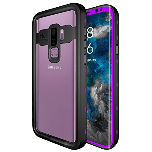 Galaxy S9 Waterproof Case, Underwater Cover Full Body Protective IP68 Waterproof Shockproof Protective Clear Case with Built in Screen Protector for Galaxy S9 (Purple)