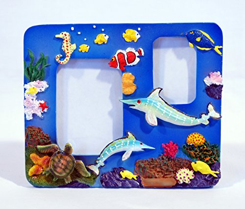 (Hand Painted Under Water World Marlin Sea Turtle Tropical Fish Photo Frame 5.5 x 4.5