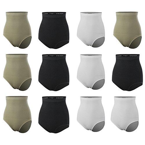 GreeNice Paquete de 9-12 Multicolor Cuerpo Braguitas Slip Alta Cintura para mujer Pack de 12