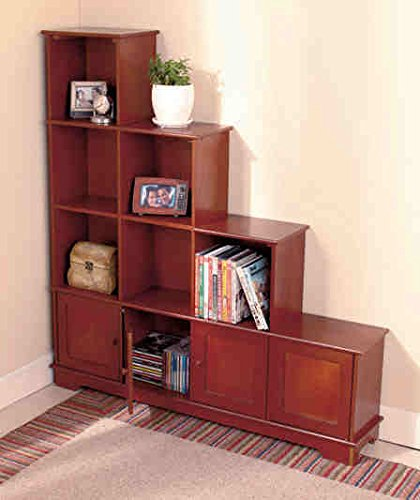 Wooden Stair Step Bookcase And Storage Console