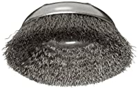 """Weiler Wire Cup Brush, Threaded Hole, Steel, Crimped Wire, 3-1/2"""" Diameter, 0.014"""" Wire Diameter, 5/8""""-11 Arbor, 7/8"""" Bristle Length, 12000 rpm (Pack of 1)"""