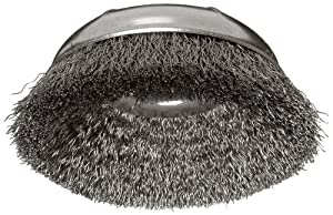 "Weiler Wire Cup Brush, Threaded Hole, Steel, Crimped Wire, 3-1/2"" Diameter, 0.014"" Wire Diameter, 5/8""-11 Arbor, 7/8"" Bristle Length, 12000 rpm (Pack of 1)"