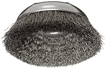 "Weiler Wire Cup Brush, Threaded Hole, Steel, Crimped Wire, 3"" Diameter, 0.014"" Wire Diameter, 5/8""-11 Arbor, 1"" Bristle Length, 14000 rpm (Pack of 1)"