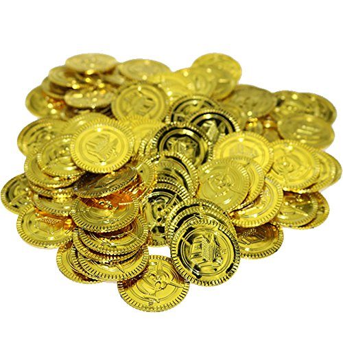(100 Pcs Plastic Pirate Gold coins Pirate Treasures Captain Pirate Toy Coins For Kids Party Theme Props Decoration Lucky Draw activities)