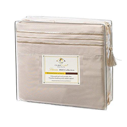 Clara Clark Premier 1800 Series 4pc Bed Sheet Set - Queen, Cream/beige, Hypoallergenic, Deep Pocket